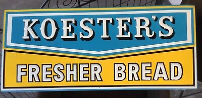 KOESTER'S BREAD SIGN 1930S 1940S EMBOSSED 13 x 30 EXTRA NICE cl