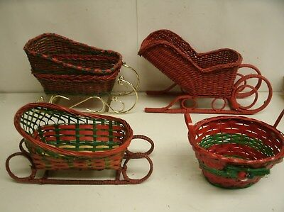lot of rustic wicker Sleighs Christmas Primitive Decor