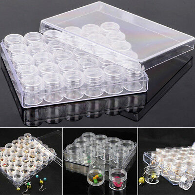 Rectangle Box Clear Plastic Jewelry Storage + 30 Small Round Container Jars Set