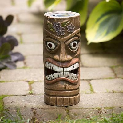 Bits and Pieces - 12 Inch Tall Solar Tiki Statue - Whimsical Light-Up Lawn...