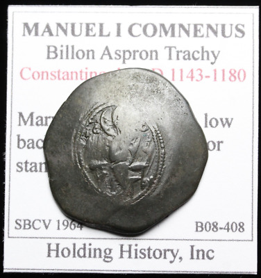 Manuel I Comnenus Billon Trachy, 1143-1180 A.D. Mary seated on low back throne