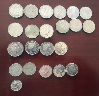 Selection of coins from New Zealand, old currency
