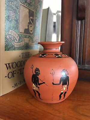 Vintage African, Egyptian small hand painted figural design clay pot,