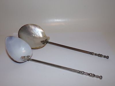 2 OLD LARGE SOUVENIR SPOONS-8.5 in-SHELL BOWL-CAPE MAY-OTHER-NR!