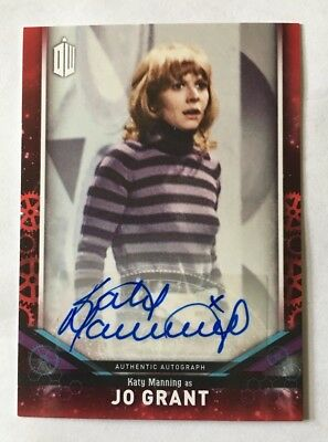 2018 Topps Doctor Who Signature Series Katy Manning As Jo Grant Red Auto 1/5