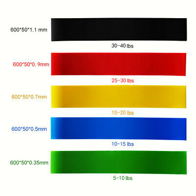 5 x Heavy Duty Resistance Band Loop Exercise Yoga Workout Power Gym Fitness US