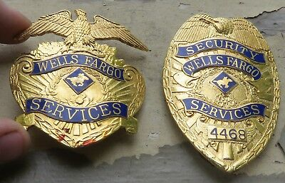 Lot of 2 Antique Obsolete Wells Fargo Security Services Badges