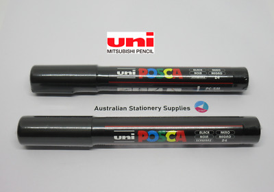 2 x UNI POSCA PAINT PENS PC-5M BULLET tip 1.8mm to 2.5mm  NEW - Black