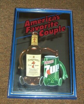 Vintage SEAGRAM'S Seven Whiskey & SEVEN UP  MIRROR SIGN  AMERICA'S FAVORITE