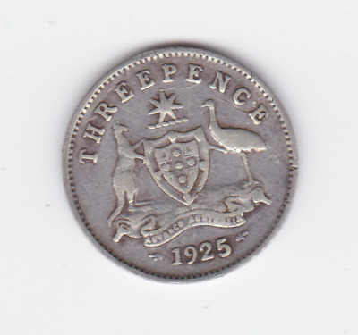 1925 no mint mark Sterling Silver 3p Threepence Australia Coin  A-353