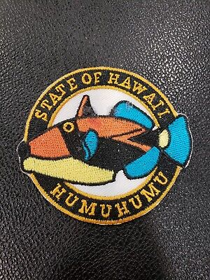 "Vintage State of Hawaii Humuhumu 3"" Round Embroidered Iron On Sew On Patch NEW"