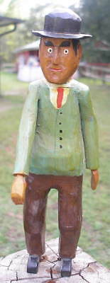 Vintage Hand Carved Folk Art MAN Wood Sculpture Statue Figure Carving 8 3/4""