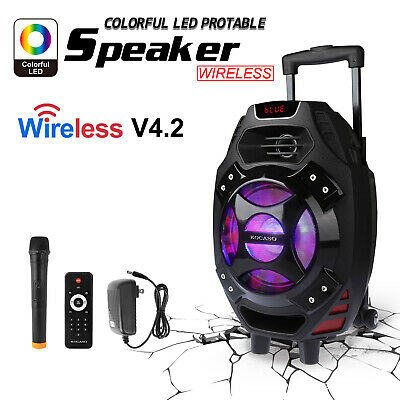 "18"" BLUETOOTH Portable KARAOKE PARTY PA DJ SPEAKER SYSTEM w/Wireless Mic US"
