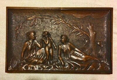 Antique Relief Carved Wood Panel Provencial Romantic Scene 18-5/8 x 11-1/2""