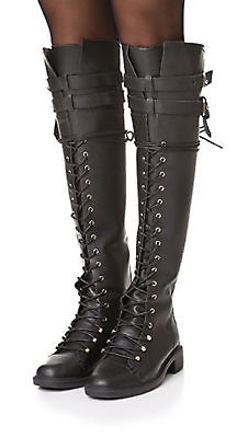 New! JOIE Gryffin Over the Knee Boots Lace Up Buckle Black Leather 39/9 NIB $548