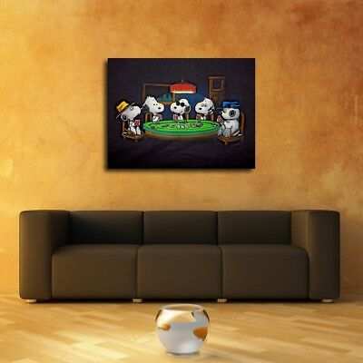 "Dog Playing Poker Painting HD Canvas prints 16""x20"" Home Decor Wall art Picture"