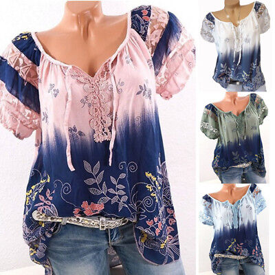 Summer Fashion Womens Ladies Short Sleeve Loose T-Shirt Casual Blouse Tops Shirt