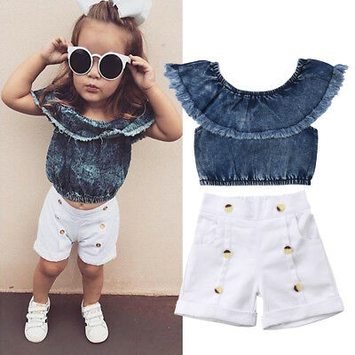 Toddler Kids Baby Girls Off Shoulder Top Short Pants Jeans Outfits Set Clothes