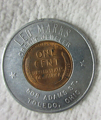 Toledo Oh Ohio - Leo Marks Jeweler 1953 D Lincoln Wheat Cent Encased Luck Penny