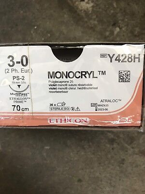 Nahtmaterial Ethicon Monocryl 3-0, PS-2, 70cm, Y428H, OVP.