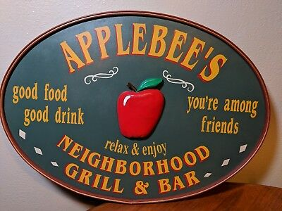 "Large 26"" Applebee's Grill & Bar Wood Sign Original Hand Painted 3D 1990s RARE"