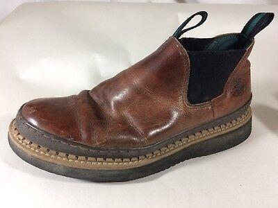 1b6b437279d GEORGIA BOOT MEN 10 M GR274 Giant Romeo Work Shoe Soggy Brown Slip On Ankle  Boot