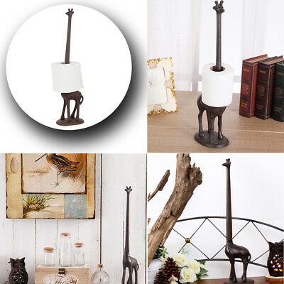 Vintage Iron Cast Giraffe Toilet Kitchen Tissue Paper Roll Holder Standing Decor