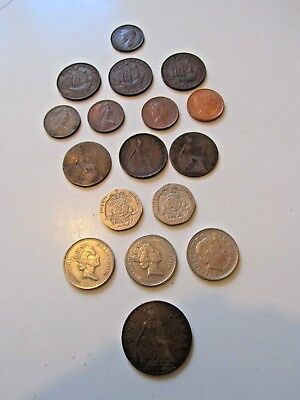 Lot of 17 Great Britain Assorted Coins 1919-2003