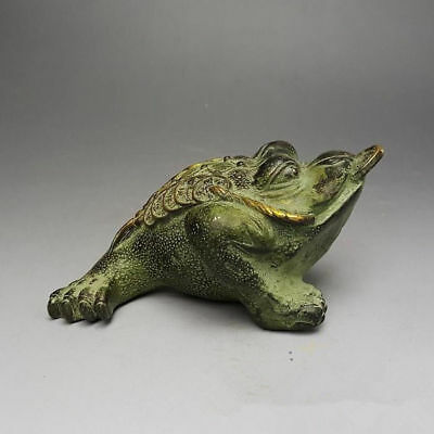 China handmade antique bronze 3 foot Toad Copper money Figurines Statues