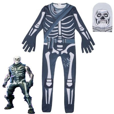 Halloween Fortnite Skull Trooper Cosplay Costume Unisex Jumpsuit Fancy Dress AU