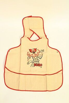 Vtg Antique Jane Withers Bozo the Clown Burlap Sackcloth Childs / Baby Bib Apron