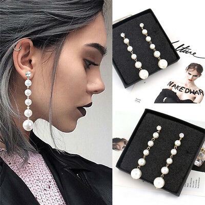 Women's Elegant Big Pearl Long Tassel Dangle Earrings Crystal Stud Drop Jewelry