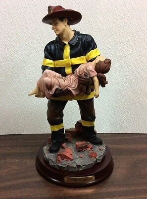 "10-1/2"" Tall ~ Fireman Caring a Child ~  Firemen Statue Figurine  FREE Shipping!"