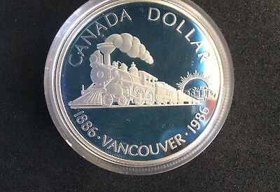 1986 Canadian Centenary Of Transcontinental Railway $1 Coin  - 50% Silver Proof