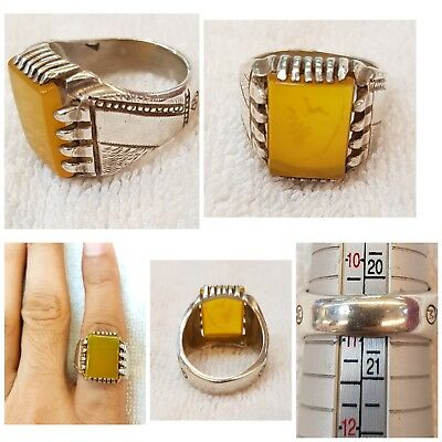 Beautiful Soild Silver Ring With Very Rare And & Yamani Yellow Agate Stone #YSR7