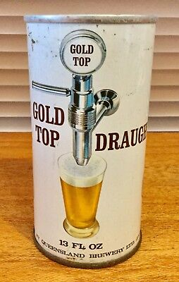 Gold Top Draught. Queensland Brewery. 13 FL.OZ. Ring Pull. Steel Beer Can.
