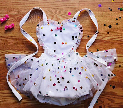 US Infant Baby Girl Sequin Halter Tulle Romper Jumpsuit Dress Skirt Outfit 0-24M