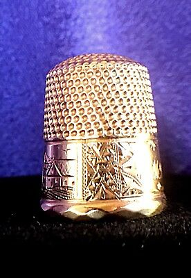 14Kt Gold Antique Victorian Thimble Hand Engraved Scenic 1800'S Reduced 65%