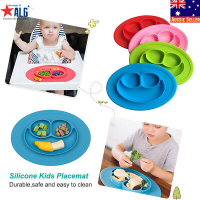 Baby Snack Mat Silicone Non Slip Happy Toddler Placemat Suction Table Plate Tray
