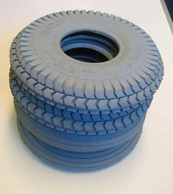 1 Set of 4 Tyres 260x85 3.00-4 Grey Mobility Scooter Tyre 300x4 (2 Block 2 Rib)