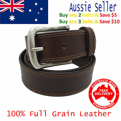 New 39mm Full Grain Premium Quality Double Stitched Brown Leather Mens Belt