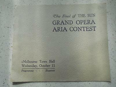 1939 Final The Sun Grand Opera Aria contest programme Melbourne Town Hall music
