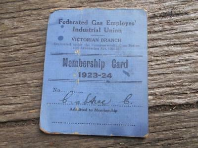 1923 1924 Federated Gas Employee's Industrial Union membership card Victoria