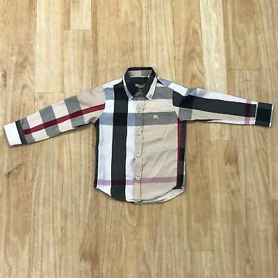 BURBERRY Brown Red Black Check Thin Formal Smart Shirt Kid Boy Age 4 Years 30288