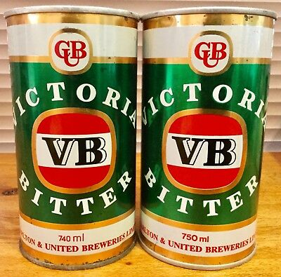 Victoria Bitter VB. 740ml & 750ml  S/S Beer Cans. x 2 Different Variations.