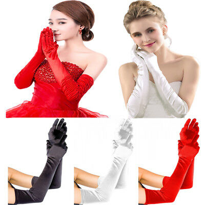 Stretch Satin Extra Long Gloves Women's Evening Party Wedding Finger Mittens