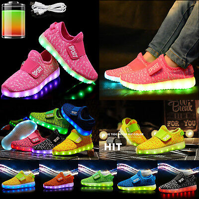 Kids Boys Girls Light Shoes LED Flashing Trainers Casual Sneakers plus size LOT