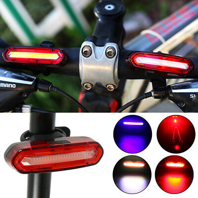 Bike Bicycle Cycling USB Rechargeable Front Rear Light 4 / 6 Modes LED Tail Lamp