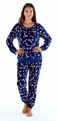 f50cab26d4 Ladies Selena Secrets Soft Warm Coral Fleece Christmas Candy Cane Pyjamas  Navy