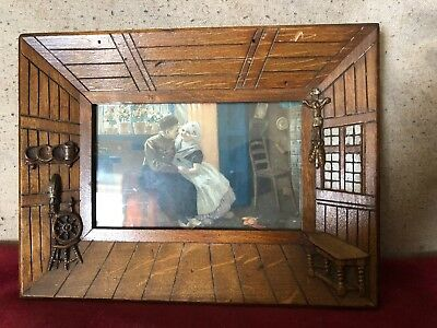 Old And Unusual Wooden Photograh Frame Formed As Wooden Cabin With Photo Window
